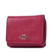 美國正品 COACH 素面防刮皮革三折零錢袋短夾-紫紅色【現貨】