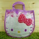 【震撼精品百貨】Hello Kitty 凱蒂貓~透明防水手提袋~紫花【共1款】