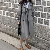 秋裝女灰色風衣女中長款正韓春季外套女港風女裝【聖誕交換禮物】