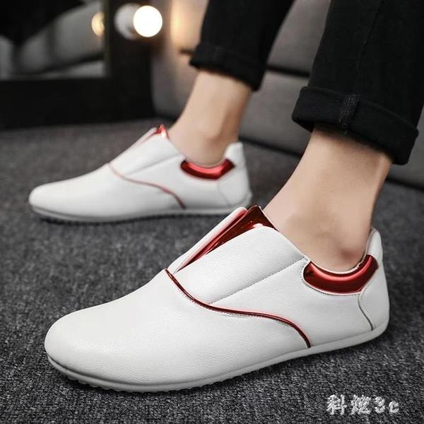 2019新款夏季一腳蹬豆豆懶人潮鞋男士休閒皮鞋百搭韓版英倫 aj8591『科炫3C』