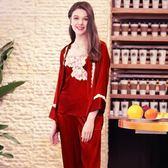 仿真絲睡衣女士吊裙外袍長褲三件套裝家居服《小師妹》yf762