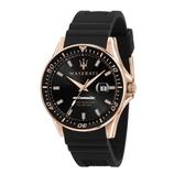 MASERATI 瑪莎拉蒂 經典黑金矽膠錶帶機械腕錶44mm(R8821140001)