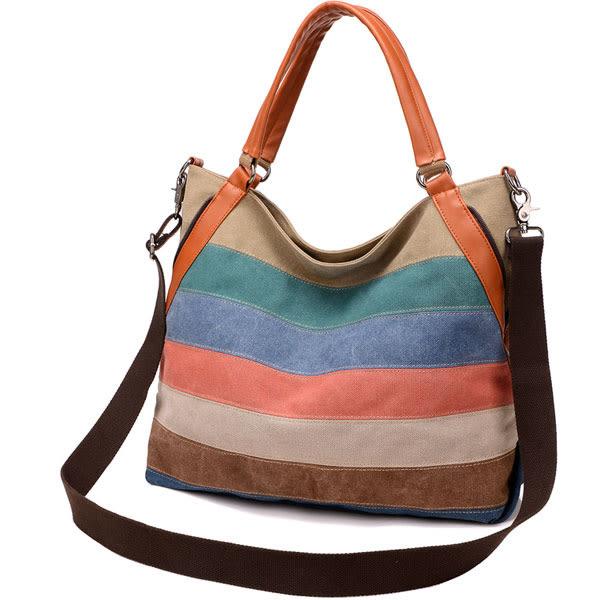休閒新款彩色拼接 大容量手提斜背包包 F053a ◆ 韓妮小熊
