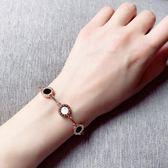 手鍊手鐲 歐美氣質羅馬數字圓牌手鏈鈦鋼電鍍玫瑰金包金腕鏈手鐲 巴黎春天