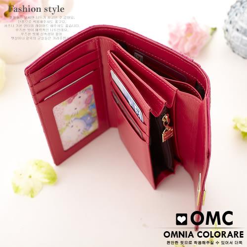 OMC - 潮感氣質編織壓紋牛皮中夾-洋紅