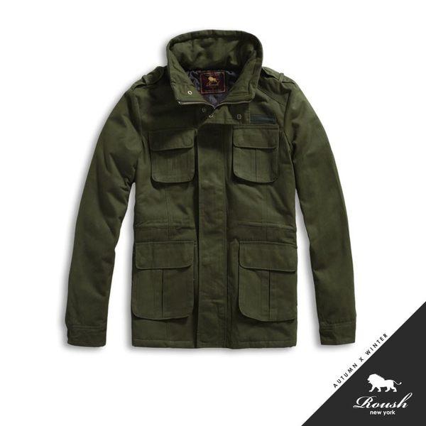 【Roush】左胸貼布高領韓版軍裝鋪棉大衣 - 【41205】
