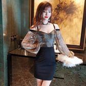 夜場洋裝女新款性感氣質吊帶裙露肩洋裝小禮服顯瘦夜 【新品特惠】