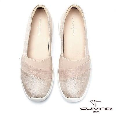 【CUMAR】率性柔美 - 輕量化異材質拼接休閒平底包鞋(粉紅)