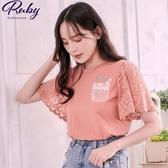 上衣 刺繡花朵盆栽蕾絲短袖上衣-Ruby s 露比午茶
