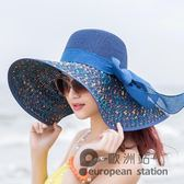 草帽/遮陽帽子女夏遮陽帽防曬大簷可折疊海邊太陽帽「歐洲站」