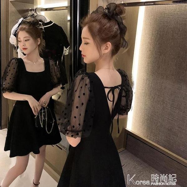 露背洋装 赫本風小黑裙洋裝性感露背小心機方領收腰泡泡袖小個子短裙女夏