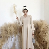 漂亮小媽咪 韓系實拍洋裝 【D1252】 質感 燈籠袖 泡泡袖 針織 長袖 毛衣 針織 孕婦裝 長裙洋裝