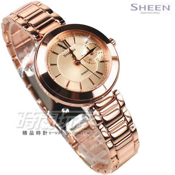 SHEEN SHE-3050PG-7A 羅馬典雅 施華洛世奇水晶 不銹鋼鑲鑽女錶 玫瑰金色 SHE-3050PG-7AUDR CASIO卡西歐