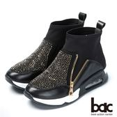 ★新品上市★【bac】混搭時尚 萊卡水鑽休閒短靴(黑色)