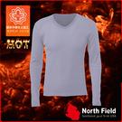 【North Field美國 男 V領遠外線內衣《鈦灰》】保暖衣/發熱衣/膠原蛋白/吸濕排汗/親膚/第二層肌膚