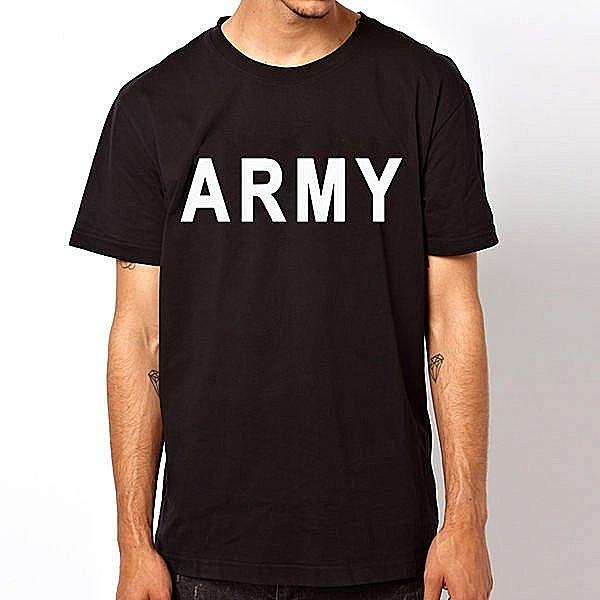 【Dirty Sweet】ARMY Tee潮流短袖棉質T恤-黑色 陸軍