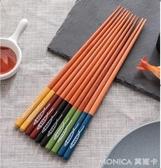 筷子 筷子家用實木尖頭家用日式雞翅木黃金檀木紅木快5雙10雙套裝筷 莫妮卡小屋