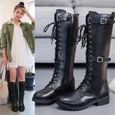 長靴馬丁靴子女秋款皮靴韓版長筒靴長靴靴平底騎士靴繫帶長靴