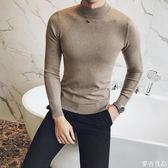 針織衫高領毛衫純色針織衫個性套頭毛衣男麥吉良品