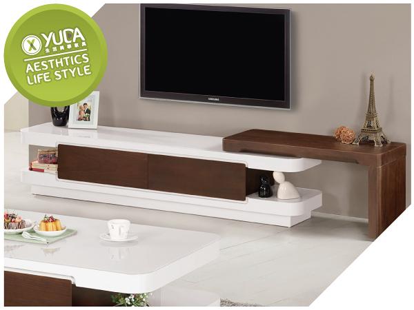 電視櫃【YUDA】溫妮 6.2尺 伸縮 長櫃(桌面5mm強化烤漆玻璃)/電視櫃 J9M 810-3