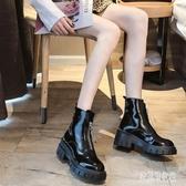 短靴前拉鏈馬丁靴女厚底增高小個子英倫風2019秋冬款高跟短靴YJ977【宅男時代城】