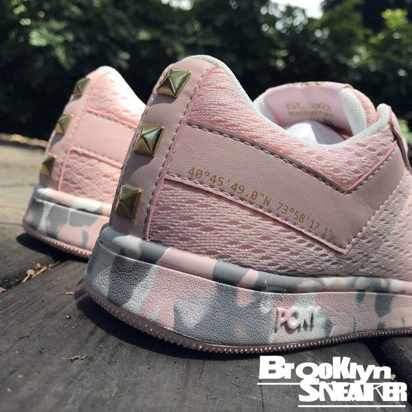 Pony Pro EG  粉紅網 粉紅灰 迷彩底 金扣 鉚釘 休閒鞋 女 (布魯克林) 2018/7月 82W1PR02PK