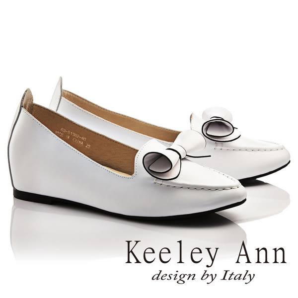 ★零碼出清★Keeley Ann熱銷延續~OL捲心蝴蝶結全真皮莫卡辛鞋(白色)