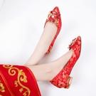 秀禾鞋中式婚鞋 平底繡花新娘鞋 高跟龍鳳紅色粗跟中跟婚鞋