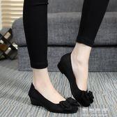 老北京布鞋女鞋豆豆單鞋春秋款軟底蝴蝶結坡跟媽媽黑色工作鞋 可可鞋櫃