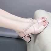 粗跟涼鞋女夏高跟2019新款韓版百搭一字帶魚嘴涼鞋高跟時尚女鞋子