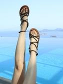 涼鞋女夏季綁帶海邊度假網紅仙女風平底波西米亞沙灘鞋潮