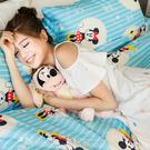 床包 / 單人【米奇手牽手藍】含一件枕套  高密度磨毛布  戀家小舖台灣製ABF101