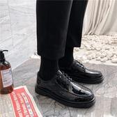 皮鞋 秋季休閒西裝鞋男商務正裝黑色小皮鞋大頭鞋韓版圓頭馬丁靴潮學生