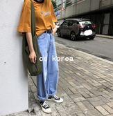 簡約復古高腰超長牛仔寬褲 CC KOREA ~ Q17730