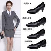 交換禮物-皮鞋矮跟圓頭粗跟上班高跟鞋女士中跟2-3-5厘米黑色職業工作單鞋