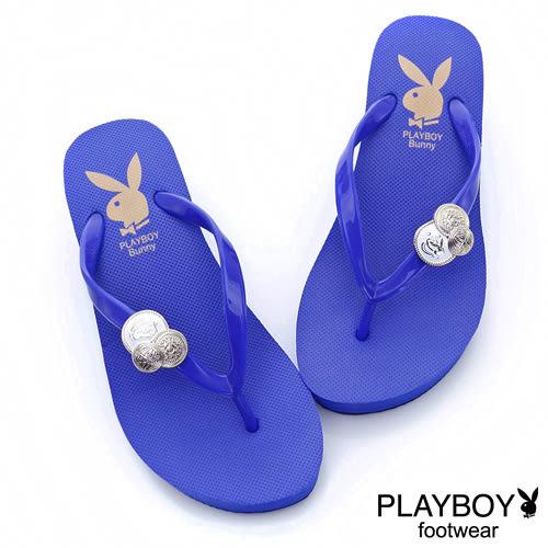 PLAYBOY 皇家典範~兔頭徽章厚底夾腳拖鞋-藍(女)