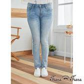 【Tiara Tiara】百貨同步 素面刷白牛仔褲(藍/淺藍)