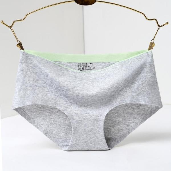 6條裝 內褲女純棉100%全棉檔無痕女士一片式三角抗菌透氣中腰純色