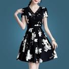 雪紡洋裝/連衣裙女氣質短袖春款2021女裝系帶修身收腰印花V領夏裙 快速出貨