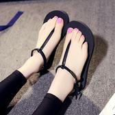 涼鞋女夏學生夾腳新款女正韓平底時尚海邊沙灘羅馬拖鞋女