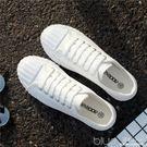 帆布鞋女學生韓版原宿球鞋平底百搭小白鞋女港風 深藏blue