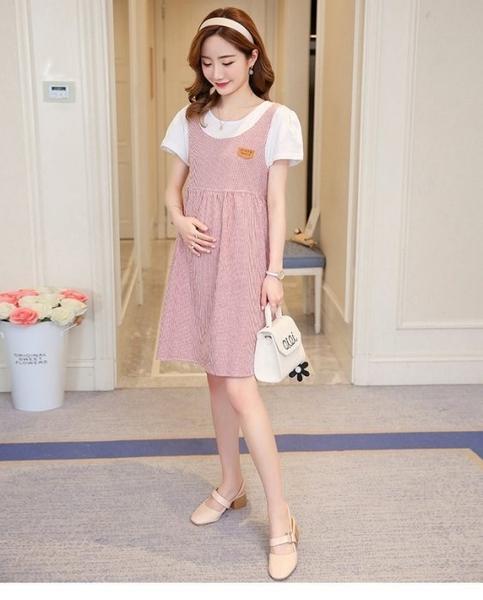 漂亮小媽咪 假兩件 洋裝 【D3221】 假二件 背心裙 條紋 短袖 孕婦裝 公主袖 孕婦洋裝