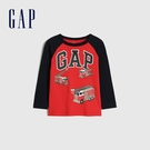 Gap男幼童 Logo撞色插肩袖圓領長袖T恤 663825-紅色