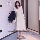 依Baby 洋裝 韓版收腰顯瘦長袖中長針織連身裙