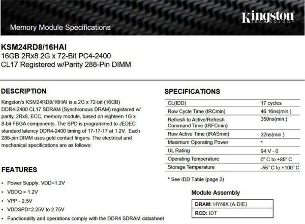 金士頓 伺服器記憶體 【KSM24RD8/16HAI】 16GB DDR4-2400 REG CL17 雙面 新風尚潮流