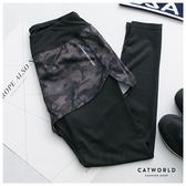 Catworld 假兩件迷彩印花彈力運動褲【12001610】‧S/M/L/XL/XXL/XXXL