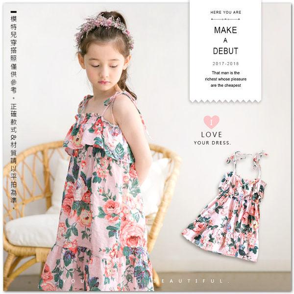 純棉 夏季花草綁帶連身裙 小洋裝 棉麻 蛋糕裙 渡假風 女童【哎北比童裝】