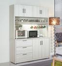 【森可家居】菲爾5尺雪山白碗盤櫃(上+下) 7JF415-1高廚房收納餐櫃 木紋質感 北歐風