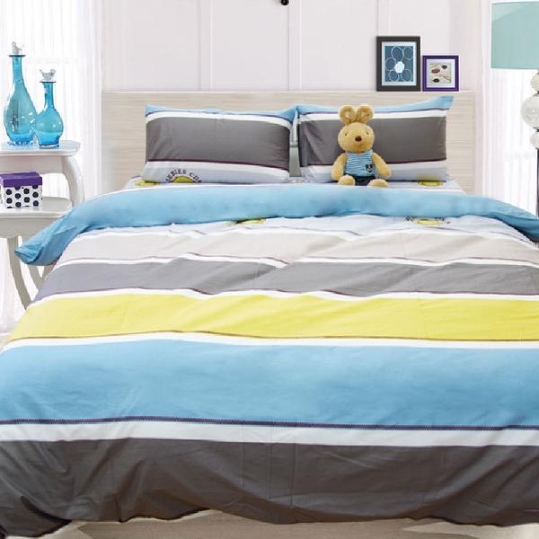 100%純棉雙人床包組(含枕套) -【藍語迷情】40支純棉、親膚細緻、棉柔觸感