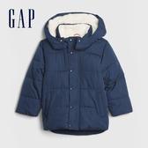 Gap男幼童 簡約仿羊羔絨拉鍊連帽外套 593052-海軍淺藍
